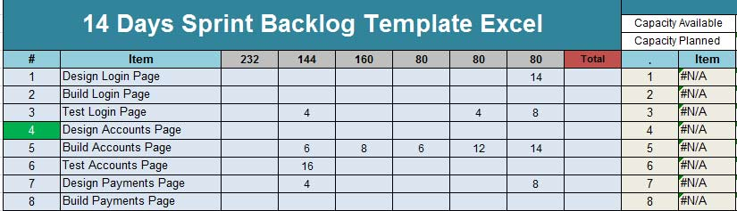 Sprint Product Backlog Template