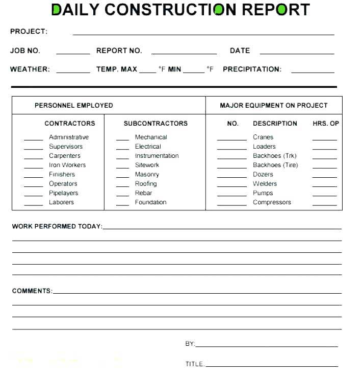 Construction Daily Report Spreadsheet Template